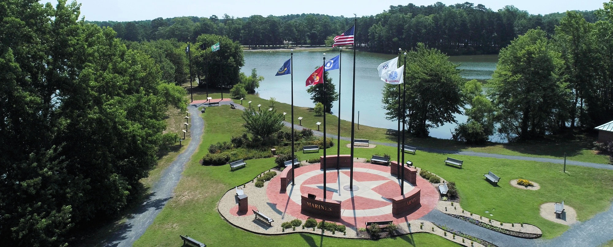 aerial photo of OP Veterans memorial